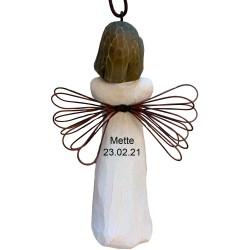 Flettet læder blå / sort 19 cm
